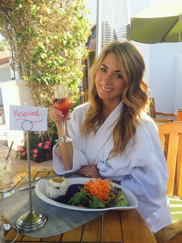 spa lunch with robe
